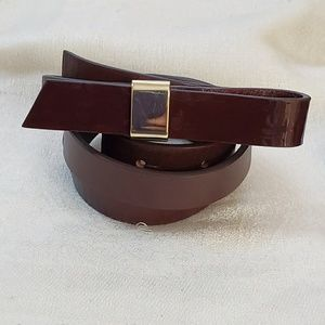Brown Patent Bow Gold Buckle Belt M #1321